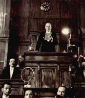 Ataturk addressing the Turkish Grand National Assembly