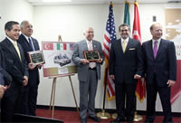 Daniel Goni Diaz, President of the Mexican Red Cross , Congressman Silvestre Reyes, Congressman Solomon Ortiz, Dr.Burak Akcapar, Deputy Chief of Mission of the Republic of Turkey, G Lincoln McCurdy, President of TCA.