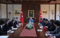 President Abdullah Gul (center) discusses Turkey's judicial system with the delegation
