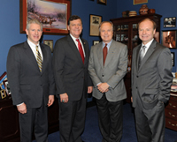 Congressman Tom Cole of Oklahoma, the only Native American Representative in the US Congress, shows the Native American display in his office to co-chairs of the Congressional Turkish Caucus, Congressman Robert Wexler of Florida (left) and Congressman Ed Whitfield of Kentucky (right) after TCA President G. Lincoln McCurdy's briefing on the Native American Lecture Tour to Turkey.